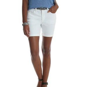 "White Denim Shorts 6"" inseam Belt Size 16 NWT"